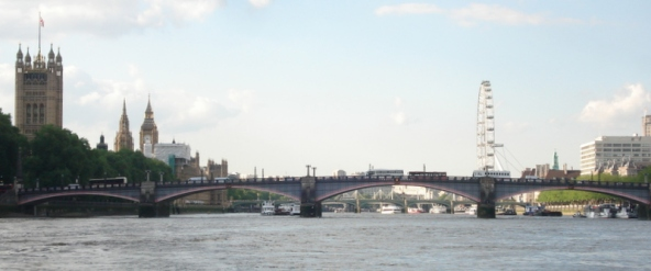 Lambeth Bridge with Westminster Bridge beyond.