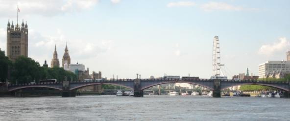 Lambeth Bridge with Westminster Bridge beyond.